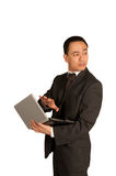 Aislamiento protecing del hombre de negocios joven Imagen de archivo libre de regalías