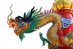 Aislante chino del dragón en blanco Foto de archivo