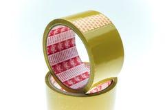 Aislante claro de la textura de la cinta adhesiva en el fondo blanco Fotografía de archivo