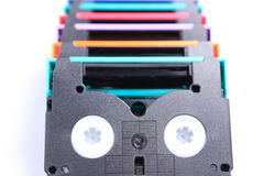 Aislante colorido de la mini cinta de DV Imágenes de archivo libres de regalías