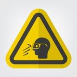 Aislante de la muestra del símbolo de las gafas de seguridad del desgaste de la ruina que vuela en el fondo blanco, ejemplo EPS d ilustración del vector