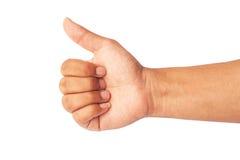 Aislante de la tenencia de la mano en el fondo blanco Imagen de archivo