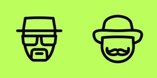 Aislante de los iconos del vector de la cara de la gente Foto de archivo libre de regalías