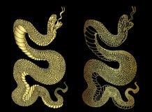 Aislante de oro de la cobra de la serpiente en el fondo blanco fotos de archivo