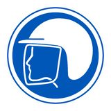Aislante del símbolo del casco de seguridad del desgaste en el fondo blanco, ejemplo EPS del vector 10 ilustración del vector