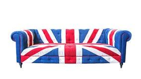Aislante del sofá del Union Jack en el fondo blanco con la trayectoria de recortes Imagen de archivo libre de regalías