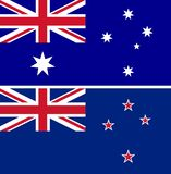 Aislante del vector de las banderas de Australia y de Nueva Zelanda ilustración del vector