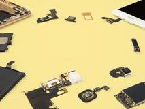 Aislante elegante de los componentes del teléfono en fondo amarillo fotografía de archivo