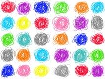 Aislante en colores pastel colorido del dibujo del círculo del garabato en el fondo blanco Ejemplo del creyón del color libre illustration