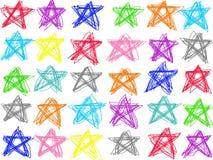 Aislante en colores pastel colorido del dibujo lineal de la estrella del garabato en el fondo blanco Ejemplo del creyón del color ilustración del vector