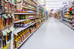 Aisle in an American supermarket. Royalty Free Stock Images
