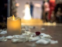 Aisle in the hall with candles with white petals on the floor in the wedding ceremony.  royalty free stock image