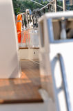 Aisle with handrail of yacht Stock Photography