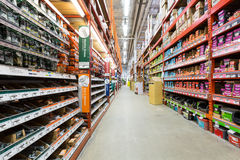 Aisle in a Home Depot hardware store Royalty Free Stock Photography