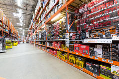 Aisle in a Home Depot hardware store Royalty Free Stock Photos