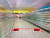 Aisle Milk Yogurt Frozen Food Freezer and Shelves in supermarket Stock Images