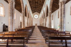 The aisle and Naves of the Santa Clara Church. Royalty Free Stock Photo