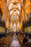 Aisle and Pews Inside Barcelona Cathedral Stock Photo