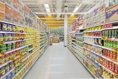 Aisle view of a Tesco Lotus supermarket. Royalty Free Stock Photo