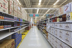 Aisle view of a Tesco Lotus supermarket. Nonthaburi, Thailand - August 22, 2015: Aisle view of a Tesco Lotus supermarket. Tesco Lotus supermarket on August 22 Stock Images