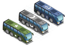 Aisometric set of military bus Royalty Free Stock Images