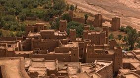 Ait本Haddou,联合国科教文组织世界遗产巴巴里人村庄鸟瞰图在摩洛哥 库存图片