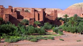 Ait Ben Haddou (or Ait Benhaddou) is a fortified city along the former caravan route between the Sahara and Marrakech in Morocco stock photo