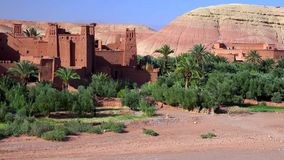 Ait Ben Haddou (or Ait Benhaddou) is a fortified city along the former caravan route between the Sahara and Marrakech in Morocco stock image