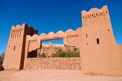 Ait-Ben-Haddou. Gate of the UNESCO protected mountain village Ait-Ben-Haddou in Morocco stock photography