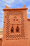Ait Ben Haddou Kasbah, Morocco. Morocco, Ouarzazate district, Ait Ben Haddou Kasbah - detail of a tower with Berber geometrical symbols. UNESCO World Heritage royalty free stock photos