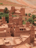 Ait Ben Haddou Kasbah, Morocco. Morocco, Ouarzazate district, Roof tops of Ait Ben Haddou Kasbah - towers and keeps with Berber geometrical symbols. UNESCO World stock photos