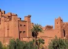 Ait Ben Haddou Kasbah, Morocco. Morocco, Ouarzazate district, Ait Ben Haddou Kasbah - towers and keeps with Berber geometrical symbols. UNESCO World Heritage stock photo