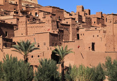Ait Ben Haddou Kasbah, Morocco. Morocco, Ouarzazate district, Ait Ben Haddou Kasbah - towers and keeps with Berber geometrical symbols. UNESCO World Heritage royalty free stock image