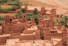 Ait Ben Haddou Kasbah, Morocco. Morocco, Ouarzazate district, Ait Ben Haddou Kasbah view over roof tops - towers and keeps with Berber geometrical symbols royalty free stock images