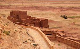 Ait Ben Haddou Kasbah, Morocco. Morocco, Ouarzazate district, Ait Ben Haddou Kasbah - watch tower with desert in the background. UNESCO World Heritage site royalty free stock images