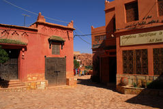 Ait Ben Haddou at Morocco. Aït Benhaddou is a 'fortified city', or ksar, along the former caravan route between the Sahara and Marrakech. It is situated in royalty free stock photo