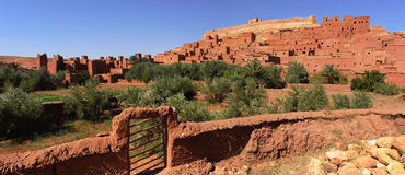 Ait Ben Haddou at Morocco. Aït Benhaddou is a 'fortified city', or ksar, along the former caravan route between the Sahara and Marrakech. It is situated in Stock Photo
