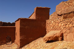 Ait Ben Haddou at Morocco. Aït Benhaddou is a 'fortified city', or ksar, along the former caravan route between the Sahara and Marrakech. It is situated in royalty free stock image
