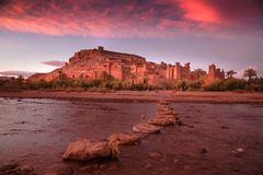Ait Ben Haddou, Morocco. Spectacular sunset at Ait Ben Haddou, Morocco royalty free stock images