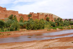 Ait Ben Haddou & Stream, Morocco. Ait Ben Haddou behind stream, Morocco Royalty Free Stock Images