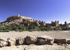 Ait ben haddou in sunny day. The Kasbah Ait ben haddou in Morocco on a hot day Royalty Free Stock Photos