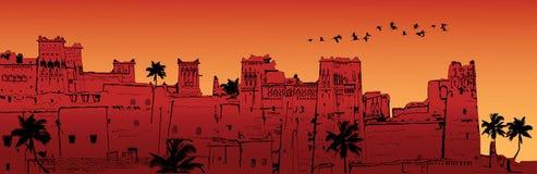 AIT-Benhaddou en Marruecos ilustración del vector