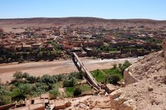 View of Ancient Kasbah in Ait-Ben-Haddou, Morocoo. Ait Benhaddou, famous ancient berber kasbah, Morocco.Panorama of Ait Benhaddou Casbah near Ouarzazate city in Stock Photos