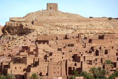 Ait Benhaddou,fortified city, kasbah or ksar, along the former caravan route between Sahara and Marrakesh in present day royalty free stock image