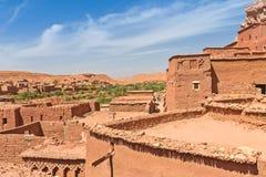 Ait Benhaddou Kasbah da opinião de assoalhos superiores, Marrocos Imagem de Stock