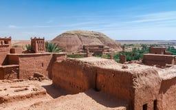 Ait Benhaddou Kasbah da opinião de assoalhos superiores, Marrocos Fotografia de Stock Royalty Free