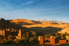 Ait Benhaddou Ksar Kasbah日落的摩洛哥非洲 免版税库存图片
