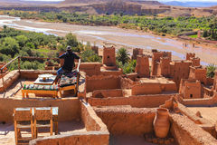 Ait Benhaddou rooftop cafe Royalty Free Stock Photography