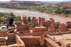 Ait Benhaddou rooftop cafe Stock Photo
