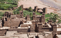 Ait Benhaddou towers. Kasbah Ait-Benhaddou in Morocco. It was used as a setting for many famous movies such as Lawrence of Arabia, Gladiator, Jesus of Nazareth Royalty Free Stock Photo